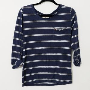 Hollister Striped Round Neck Long Sleeve Tee